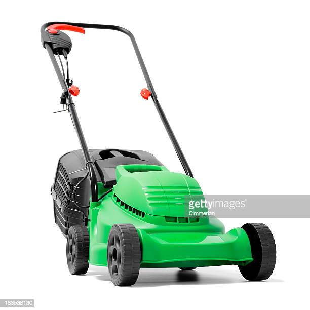 a brand new green electric power lawn mower - lawn mower stock pictures, royalty-free photos & images