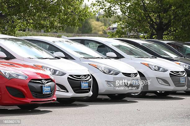 Brand new Hyundai Elantras are displayed on the sales lot at Petaluma Hyundai on April 3 2013 in Petaluma California Hyundai and Kia announced a...