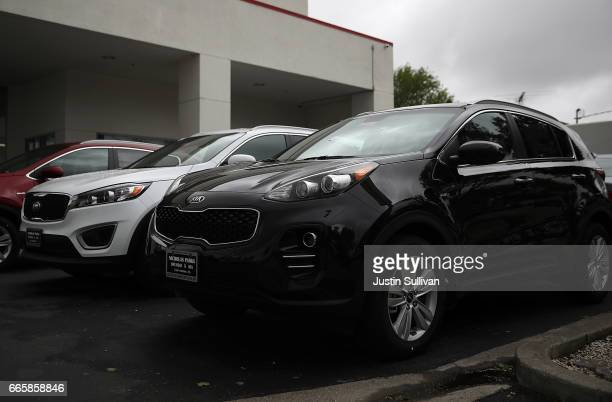 Brand new Kia Sportages are displayed at a Hyundai dealership on April 7 2017 in San Leandro California South Korean automakers Kia and Hyundai...