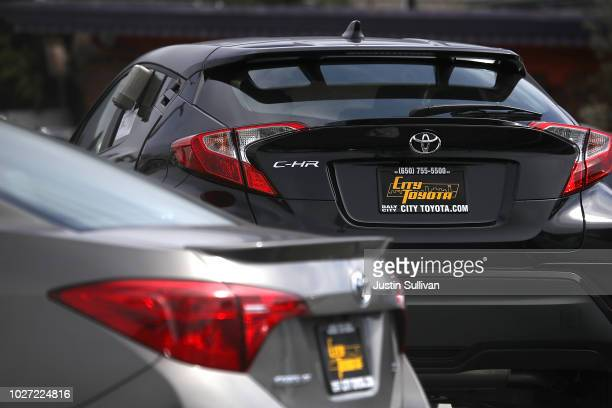 Brand new non-hybrid version of the Toyota C-HR is displayed on a sales lot at City Toyota on September 5, 2018 in Daly City, California. Toyota...