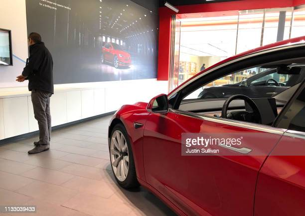 Brand new Tesla Model S is displayed at a Tesla showroom on March 01, 2019 in Corte Madera, California. Tesla announced plans to shutter almost all...