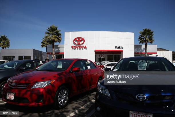 Brand new Toyota cars are displayed at Toyota Marin on October 1 2013 in San Rafael California Monthly auto sales in the US fell in September for the...