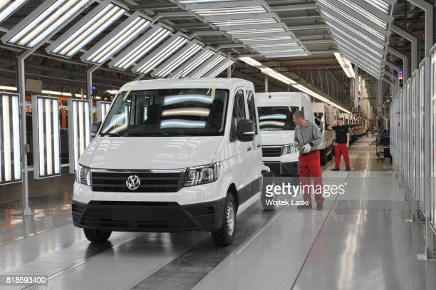 Brand new Volkswagen Crafter vans in the newly opened Volkswagen AG manufacturing plant in Bialezyce near Wrzesnia, Poland, on December 12th, 2016....
