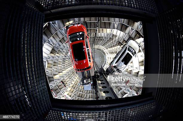 A brand new Volkswagen Passat and Golf 7 car is stored in a tower at the Volkswagen Autostadt complex near the Volkswagen factory on March 10 2015 in...