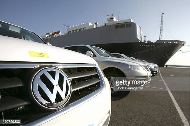 Brand new VW Passat passenger cars in the harbour of Emden ready for the oncoming export via ship to the USA