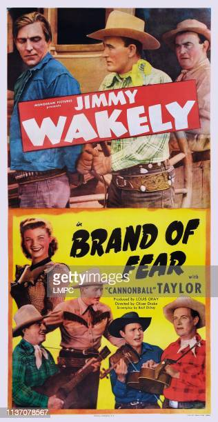 Brand Of Fear poster US poster art bottom left Gail Davis top center Jimmy Wakely top right Dub Taylor 1949