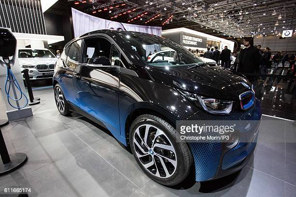 BMW brand presents their new BMW i3 car during the press preview of the Paris Motor Show at Paris Expo Porte de Versailles on September 30 2016 in...