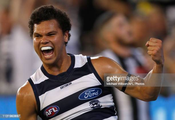 Brandan Parfitt of the Cats celebrates a goal during the 2019 AFL round 01 match between the Collingwood Magpies and the Geelong Cats at the...