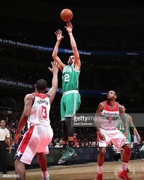 Brandan Wright of the Boston Celtics shoots against the Washington Wizards during the game on December 27 2014 at Verizon Center in Washington...