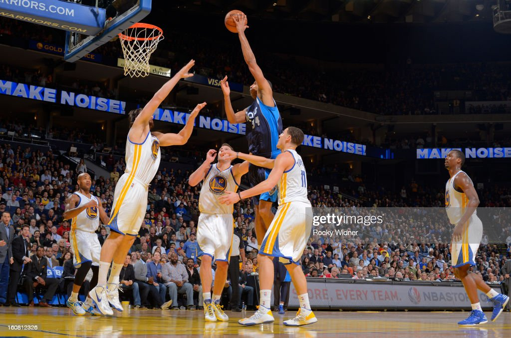 Brandan Wright #34 of the Dallas Mavericks shoots against the Golden State Warriors on January 31, 2013 at Oracle Arena in Oakland, California.