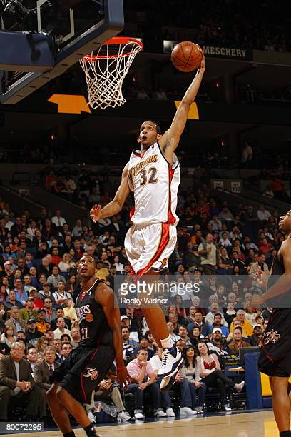 Brandan Wright of the Golden State Warriors shoots against the Philadelphia 76ers on February 29 2008 at ORACLE Arena in Oakland California NOTE TO...