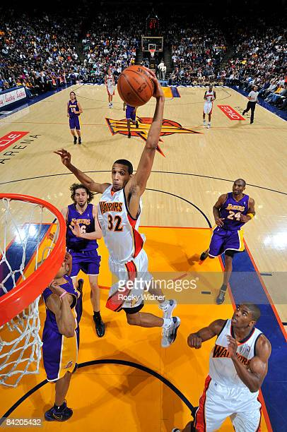 Brandan Wright of the Golden State Warriors skies for the jam against the LA Lakers on January 07 2009 at Oracle Arena in Oakland California NOTE TO...