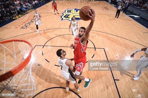 Brandan Wright of the Houston Rockets shoots the ball against the Denver Nuggets on February 25 2018 at the Pepsi Center in Denver Colorado NOTE TO...