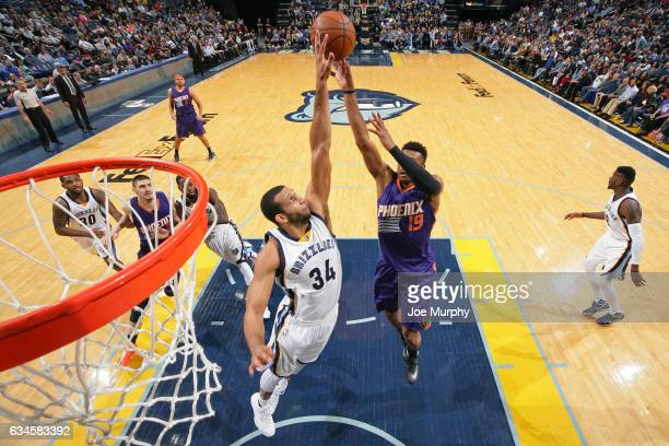 Brandan Wright of the Memphis Grizzlies blocks the shot of Leandro Barbosa of the Phoenix Suns on February 8 2017 at FedExForum in Memphis Tennessee...