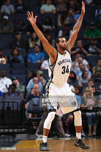 Brandan Wright of the Memphis Grizzlies defends against the Orlando Magic during a NBA preseason game on October 3 2016 at FedExForum in Memphis...