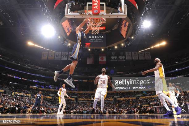 Brandan Wright of the Memphis Grizzlies dunks against the Los Angeles Lakers on November 5 2017 at STAPLES Center in Los Angeles California NOTE TO...