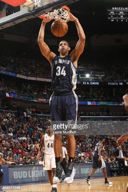 Brandan Wright of the Memphis Grizzlies dunks the ball during a game against the New Orleans Pelicans on March 21 2017 at Smoothie King Center in New...