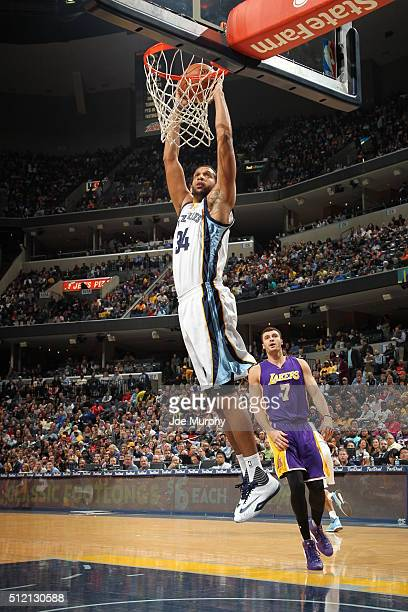 Brandan Wright of the Memphis Grizzlies goes to the basket against the Los Angeles Lakers' on February 24 2016 at FedExForum in Memphis Tennessee...