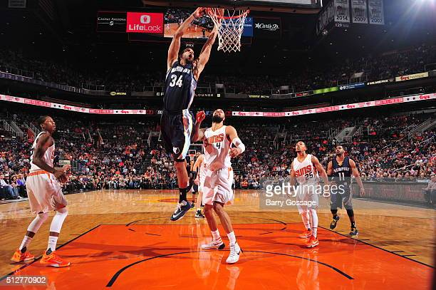 Brandan Wright of the Memphis Grizzlies goes to the basket against the Phoenix Suns on February 27 2016 at Talking Stick Resort Arena in Phoenix...