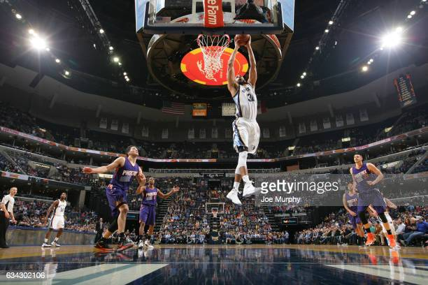 Brandan Wright of the Memphis Grizzlies goes up for a dunk during a game against the Phoenix Suns on February 8 2017 at FedExForum in Memphis...