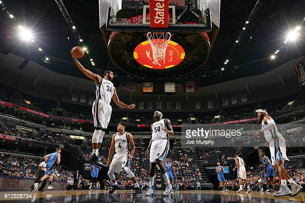 Brandan Wright of the Memphis Grizzlies grabs the rebound against the Orlando Magic during a preseason game on October 3 2016 at FedExForum in...