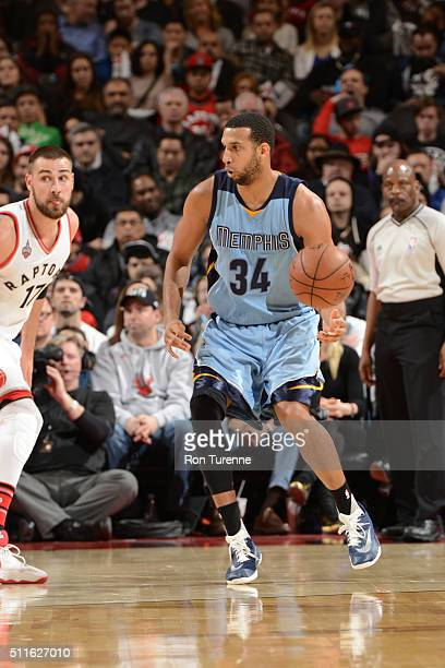 Brandan Wright of the Memphis Grizzlies handles the ball against Jonas Valanciunas of the Toronto Raptors on February 21 2016 at the Air Canada...