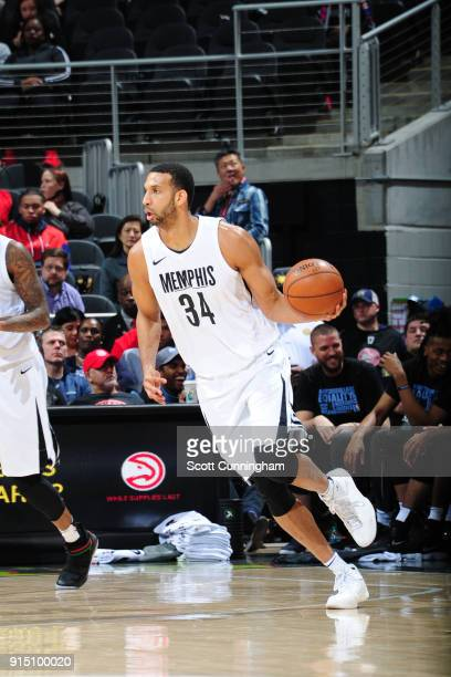 Brandan Wright of the Memphis Grizzlies handles the ball against the Atlanta Hawks on February 6 2018 at Philips Arena in Atlanta Georgia NOTE TO...