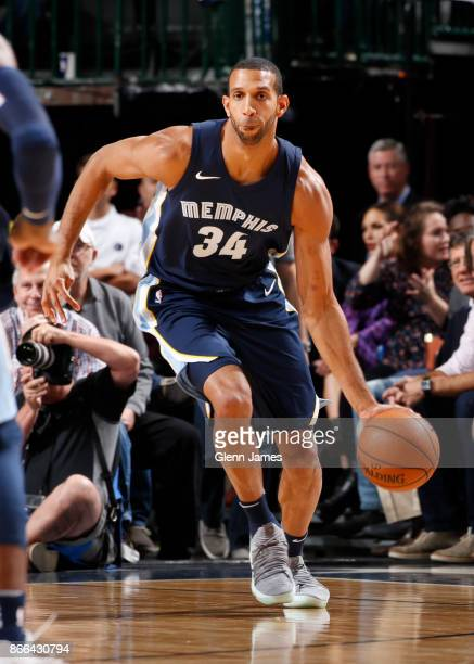 Brandan Wright of the Memphis Grizzlies handles the ball during the game against the Dallas Mavericks on October 25 2017 at the American Airlines...