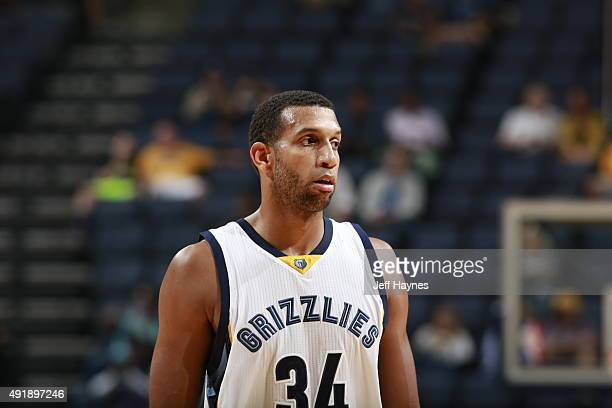 Brandan Wright of the Memphis Grizzlies looks on against Maccabi Haifa during a preseason game on October 8 2015 at FedExForum in Memphis Tennessee...