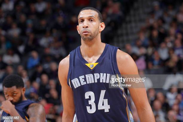 Brandan Wright of the Memphis Grizzlies looks on during the game against the Sacramento Kings on March 27 2017 at Golden 1 Center in Sacramento...