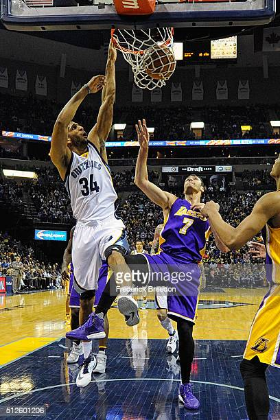 Brandan Wright of the Memphis Grizzlies plays against Larry Nance Jr #7 of the Los Angeles Lakers at FedExForum on February 24 2016 in Memphis...
