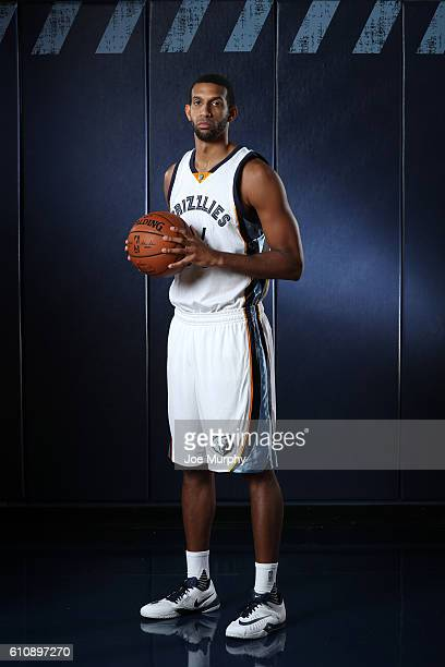 Brandan Wright of the Memphis Grizzlies poses for a portrait during Memphis Grizzlies Media Day on September 26 2015 at FedExForum in Memphis...