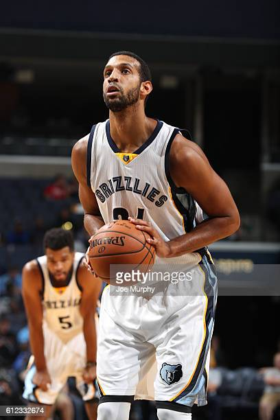 Brandan Wright of the Memphis Grizzlies shoots a free throw against the Orlando Magic during a preseason game on October 3 2016 at FedExForum in...