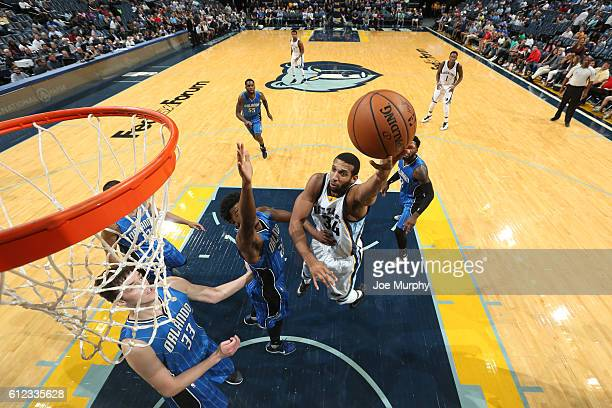 Brandan Wright of the Memphis Grizzlies shoots the ball against the Orlando Magic during a preseason game on October 3 2016 at FedExForum in Memphis...