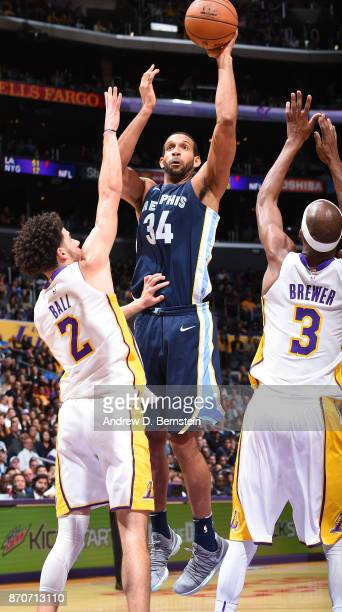 Brandan Wright of the Memphis Grizzlies shoots the ball against the Los Angeles Lakers on November 5 2017 at STAPLES Center in Los Angeles California...