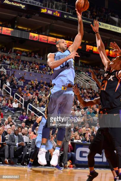 Brandan Wright of the Memphis Grizzlies shoots the ball against the Phoenix Suns on December 21 2017 at Talking Stick Resort Arena in Phoenix Arizona...