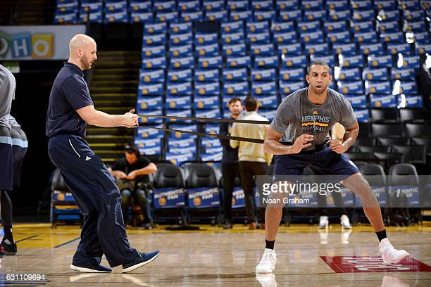 Brandan Wright of the Memphis Grizzlies warms up before the game against the Golden State Warriors on January 6 2017 at ORACLE Arena in Oakland...
