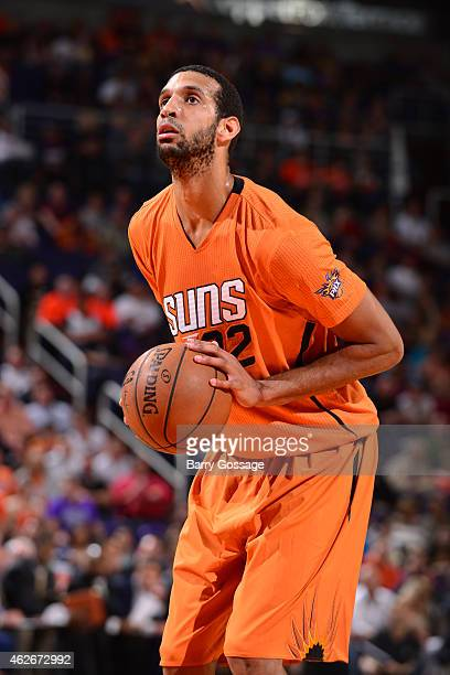 Brandan Wright of the Phoenix Suns attempts a free throw against the Minnesota Timberwolves on January 18 2015 at US Airways Center in Phoenix...