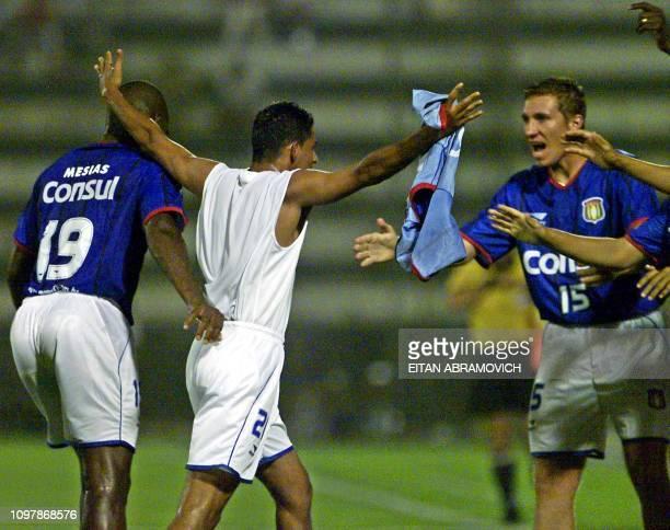 Brandao del Sao Caetano of Brazil is seen celebrating his goal against Alianza Lima de Peru 28 March 2002 in Lima Brandao del Sao Caetano de Brasil...
