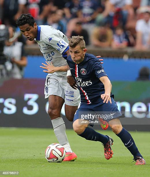 Brandao of Bastia and Lucas Digne of PSG in action during the French Ligue 1 match between Paris Saint Germain FC and SC Bastia at Parc des Princes...