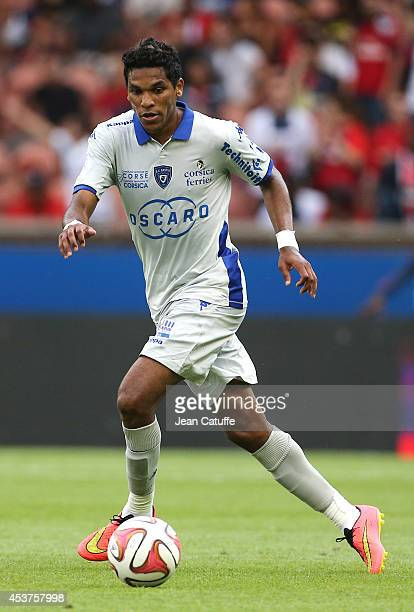 Brandao of Bastia in action during the French Ligue 1 match between Paris Saint Germain FC and SC Bastia at Parc des Princes stadium on August 16...