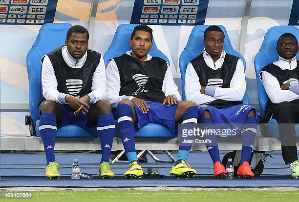 Brandao of Bastia seats on the bench during the French League Cup final between Paris SaintGermain FC and Sporting Club de Bastia at Stade de France...