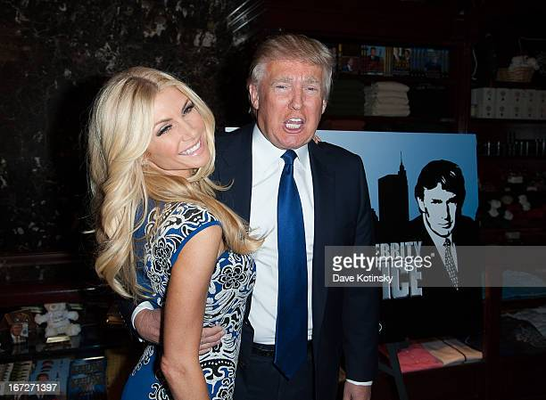 Brande Roderick and Donald Trump attends the Celebrity Apprentice AllStars red carpet at Trump Tower on April 23 2013 in New York City