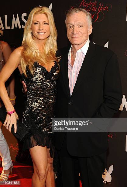 Brande Roderick and Hugh Hefner arrives at Playboy's 50th Annual Playmate of the Year Announcement and Celebration at Palms Hotel Casino on May 2...