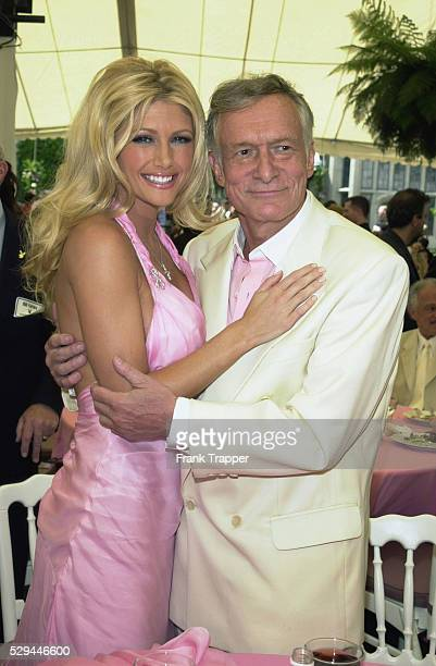 Brande Roderick at the press event announcing her Playmate of the Year with Playboy publisher Hugh Hefner