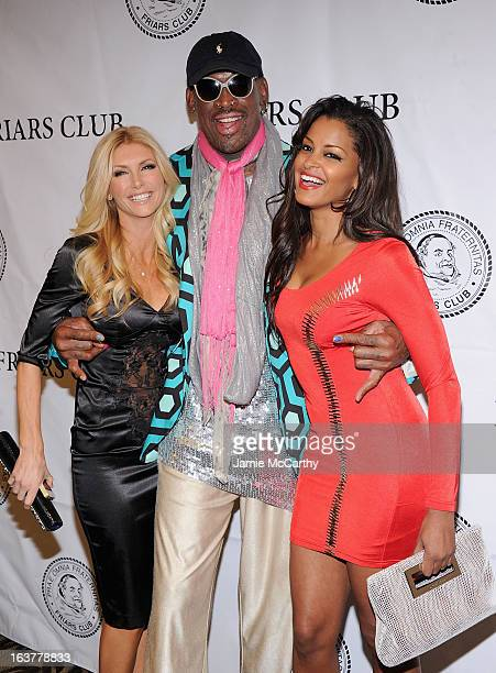 """Brande Roderick,Dennis Rodman and Claudia Jordan attend """"So You Think You Can Roast?"""" at New York Friars Club on March 15, 2013 in New York City."""