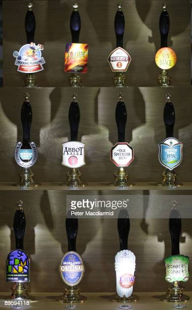 Branded beer pumps are displayed at The Great British Beer Festival on August 4, 2009 in London. The festival is organised by the Campaign for Real...
