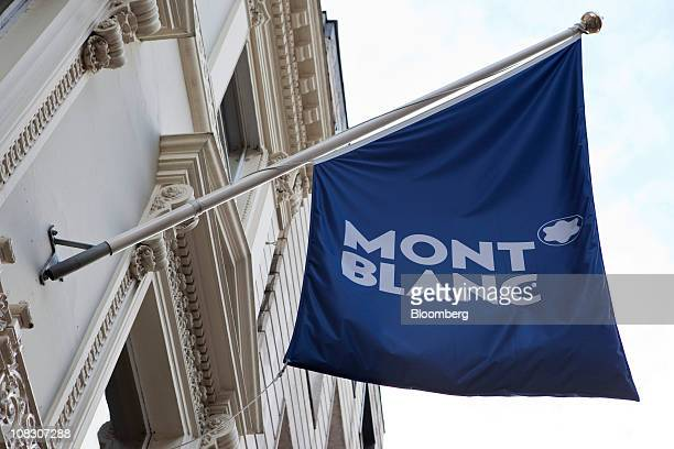 Branded flag hangs outside a Montblanc store in London, U.K., on Tuesday, Jan. 25, 2011. Montblanc Group, the German maker of the Meisterstueck...