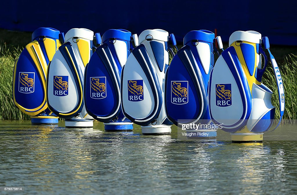 RBC branded golf bags are seen along the 18th green during the third round of the RBC Canadian Open at Glen Abbey Golf Club on July 23, 2016 in Oakville, Canada.