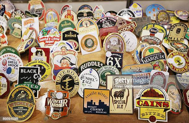 Branded pump clips are displayed for sale at the Great British Beer Festival on August 4, 2009 in London. The festival is organised by CAMRA who have...